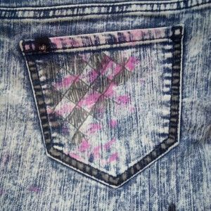 Customised acid wash skinny stretchy jeans size 13